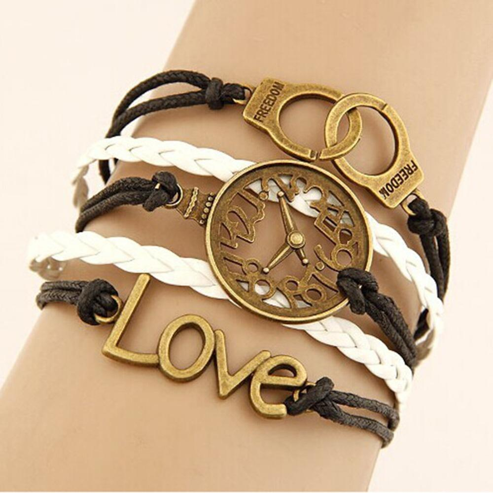 Womens Handmade Bracelet Leather And Alloy Love Watch Multilayer Bangles