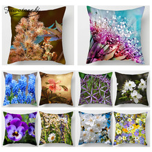 Fuwatacchi Flower Printed Cushion Covers Plum Blossom Lavender Sofa Home Decorative Pillows Cover Wedding Decoration Pillowcases