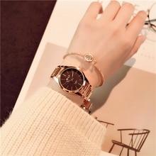 Для женщин Роскошные часы-браслет модный бренд розового золота кварцевые наручные часы женская одежда спортивные часы Relogio Masculino