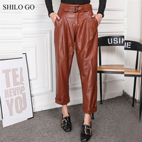 SHILO GO Leather Pants Womens Spring Fashion sheepskin genuine leather Pants metal high waist concise causal harem pants