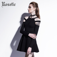 Rosetic Gothic Mini Dress Black Fashion Hollow Fall Women Casual Dress Goth Empire A Line Young