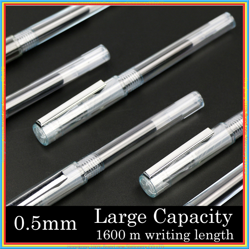 One set large capacity 1600 m writing length refill Transparent Gel pen metal Clip 0.5mm black ink signature stationery 04128 aw555 5 0 msb2531 128mb 4gb car gps navigation us