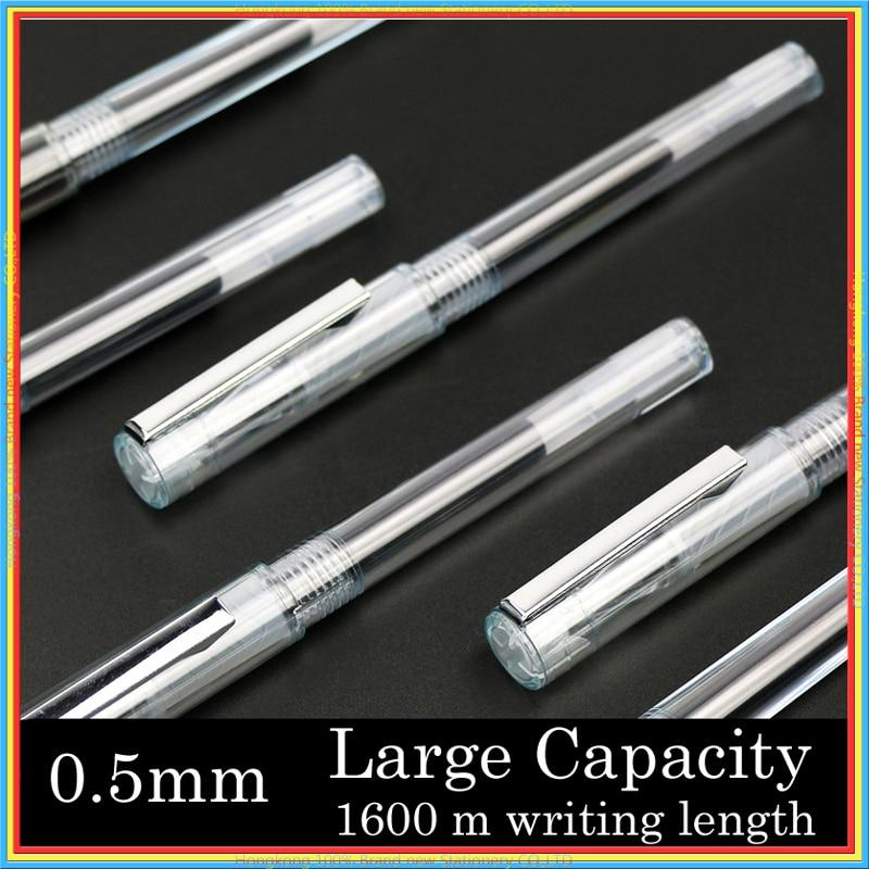 One set large capacity 1600 m writing length refill Transparent Gel pen metal Clip 0.5mm black ink signature stationery 04128 moroccanoil спрей для прикорневого объема root boost 250 мл