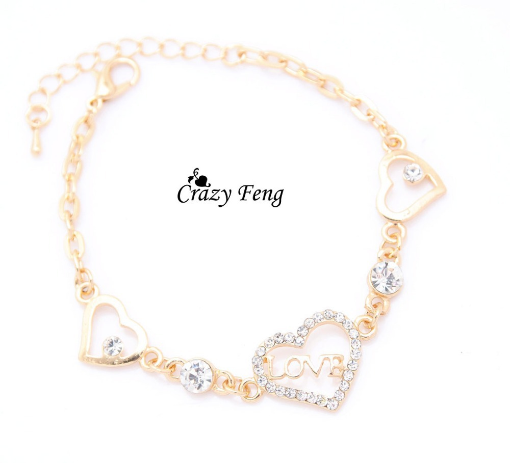 Free shipping Fancy Chain Bracelet Gold Color Women Hollow Love ...