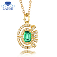 Full Cut Natural Diamond Gemstone Colombia Emerald Pendant Necklace Real 18K Yellow Gold For Fine Jewelry