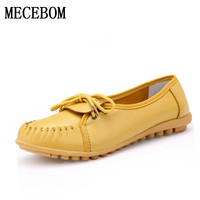 2017 New Women Real Leather Shoes Moccasins Mother Loafers Soft Leisure Flats Female Driving Casual Size