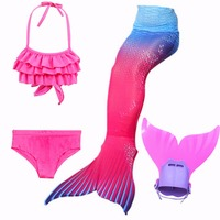HOT 4pcs Set Kids Girls Mermaid Tails Swimmable Swimsuits Swimming Kids Ariel Mermaid With Flipper Cosplay