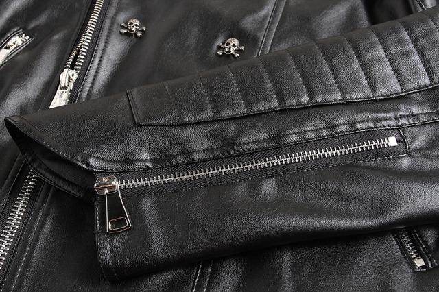 NIANJEEP 2018 New Skull Rivet Studded Punk Rock Black Biker Leather Motorcycle Jackets Men Plus Size 4XL 5XL Button Skull