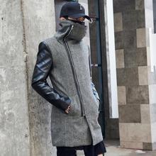 Мужской зимний теплый шерстяной длинный Тренч кожаные лоскутные куртки с высоким воротом мужские s корейский стиль slim fit длинное пальто abrigo hombre