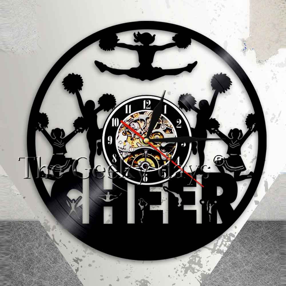 Cheerleaders Silhouette Wall Art Wall Clock Home Decor Cheering Squad Dancing Girls Vinyl Record Clock Gift For Cheer Team