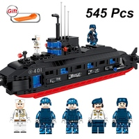 545Pcs Military Figures Fighting Ship Boat Building Blocks Set Compatible Legoings Soldiers Ww2 Army Bricks Toys Children Gift