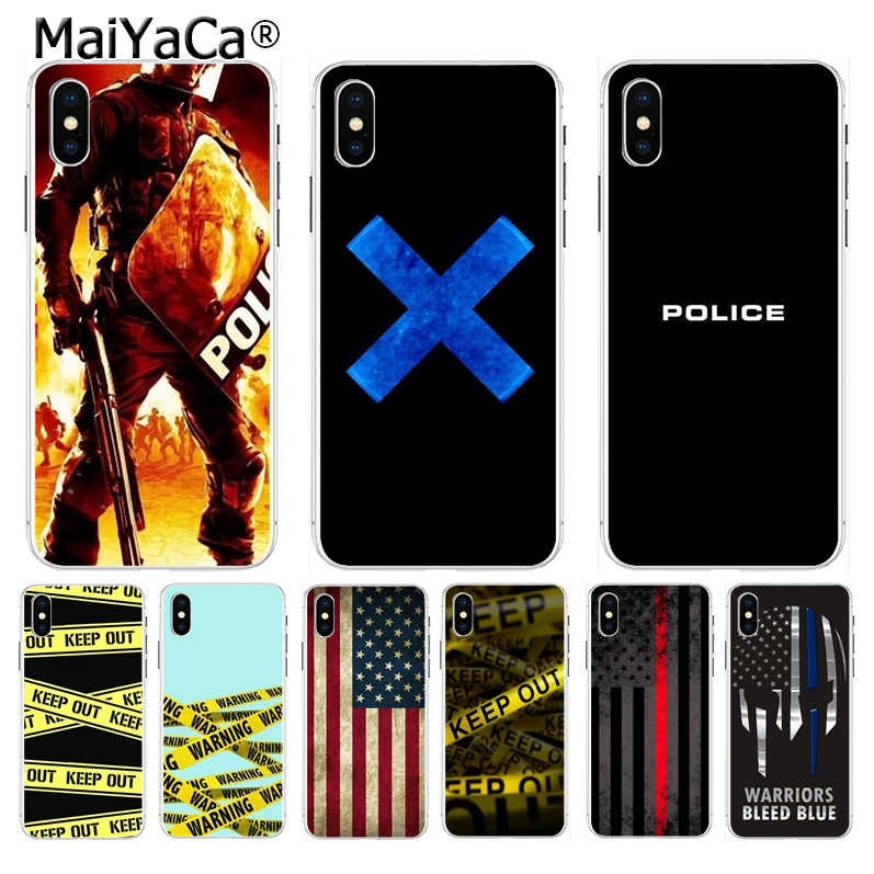 Maiyaca Kutipan Polisi Warna-warni Lucu Aksesoris Case untuk Apple Iphone 8 7 6 6S Plus X XS Max 5 5S SE XR Cover