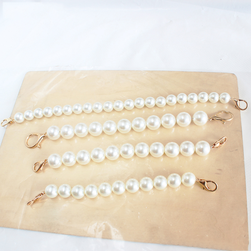 New Faux Pearl Beaded Design Shoulder Bag Strap Women Handbag Strap 22-32cm Length Lady Replacement Obag Handles Bag Accessories