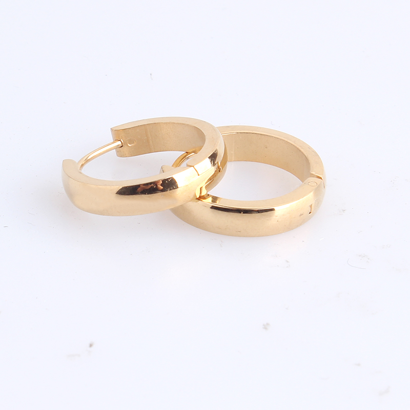 free shipping 4mm smooth gold color big Circle 316L Stainless Steel Stud Earrings for women men wholesale