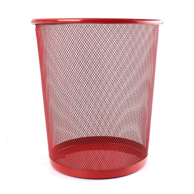 HOT GCZW-Office Can iron Mesh Waste Bin Wastebasket Rubbish Paper Net Trash Basket 26.5*23.5*18.5cm