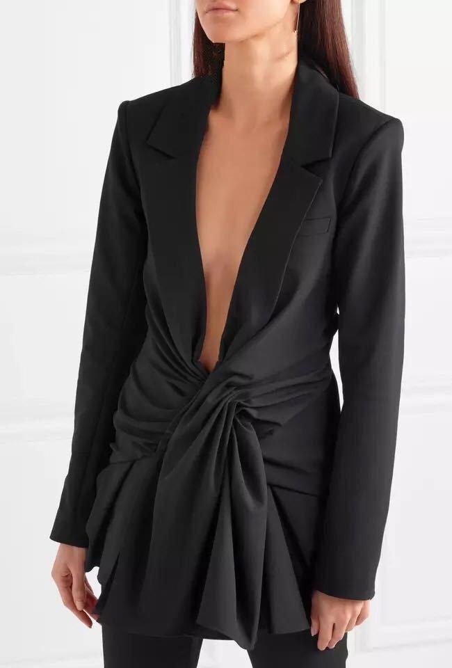 2018 Female Black Office Blazer Jacket Solid Elegant Slim Tunic Deep V Neck Sexy Outwear