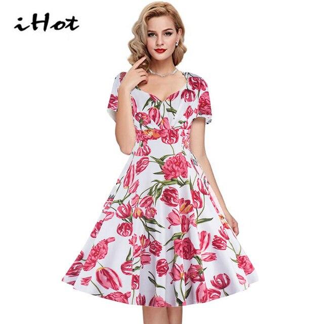 IHOT vestido vintage mujer tulipán estampado floral de verano de ...