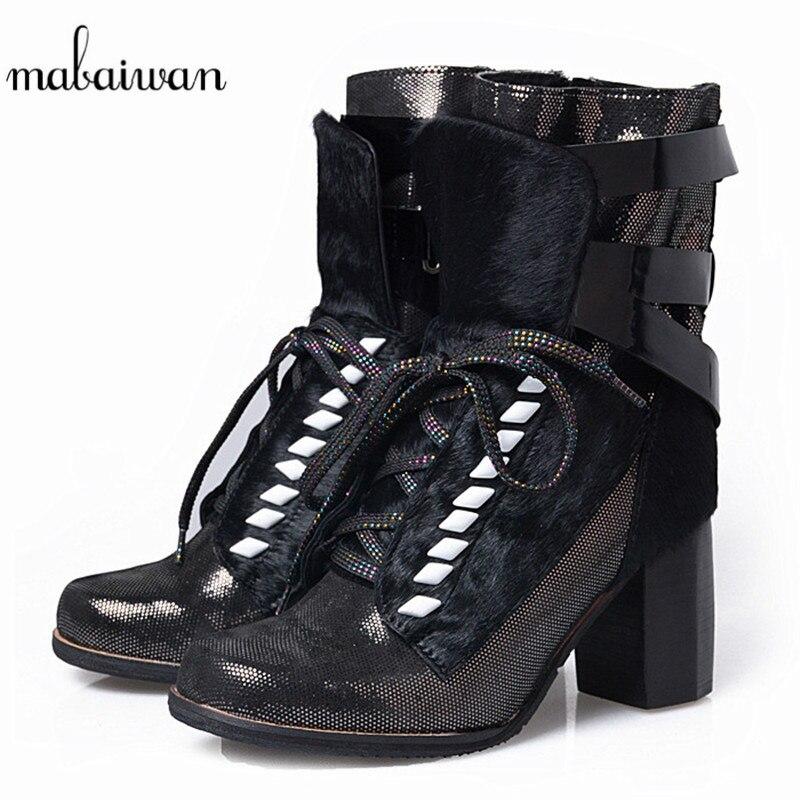 Mabaiwan noir femmes véritable cuir bottines cheveux de cheval boucle d'hiver carré haut talon Militares chaussures femme pompes à lacets