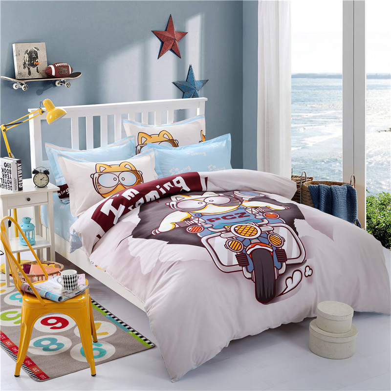 FW Lovely cartoon style bedding set Children patchwork applique embroidery bedclothes 3/4pcs full/<font><b>queen</b></font>/king size without <font><b>filter</b></font>