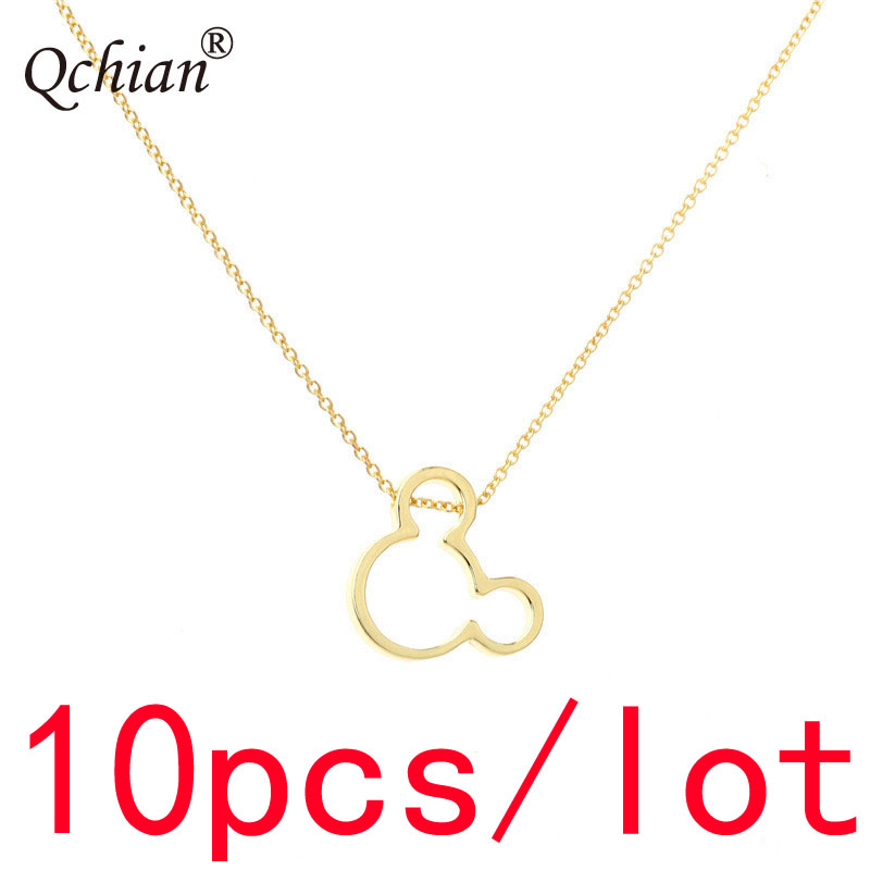 10pcs/lot Fashion Simple Style Mickey Stainless Steel Metal Decorative Pendant Children's Jewelry Necklace Gift