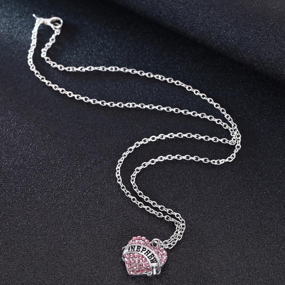 Bespmosp 24PC/Lot Wholesale Pink Crystal Family Love Heart Nephews Gifts Trendy Chain Pendant Necklace Chain Charm Jewelry New