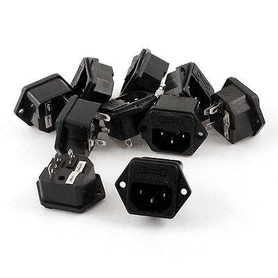 10 Pcs 3 Pins IEC320 C14 Inlet Power Socket AC 250V 10A w Fuse Holder 5pcs iec320 c8 black 2 terminal power plug inlet socket ac 250v 2 5a