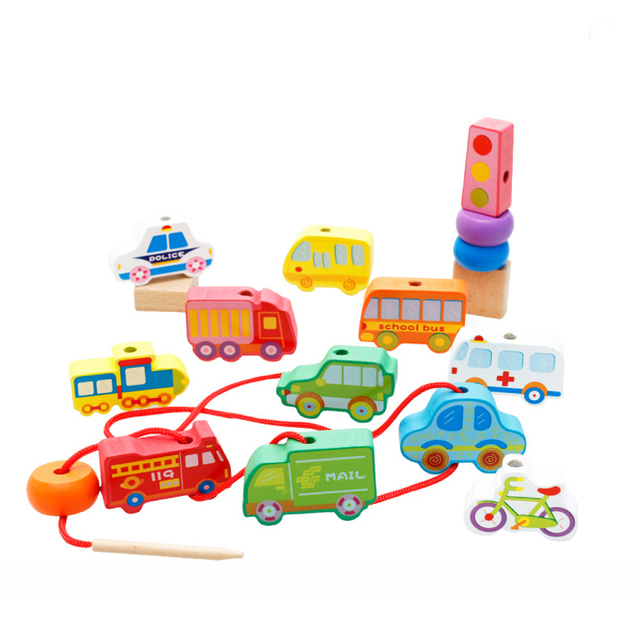 Kids Montessori  early educational toys Fruit/Digital/Transportation Wooden lacing beads threading building blocks child gifts