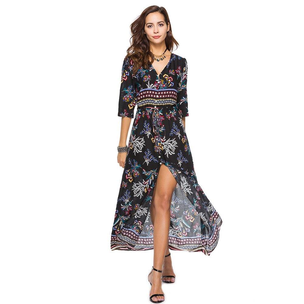 a671b4e626b Для женщин Boho платья макси с принтом длинные летние 2018 Женское платье  Размеры XXXL красивые дешевые