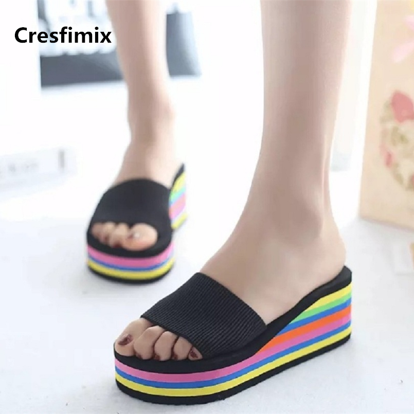 Cresfimix women fashion 7cm high quality comfortable slides lady cute colorful ribbon slippers female soft eva slippers a674Cresfimix women fashion 7cm high quality comfortable slides lady cute colorful ribbon slippers female soft eva slippers a674