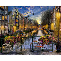 Painting By Numbers DIY Dropshipping 50x65 60x75cm Beautiful Amsterdam view Landscape Canvas Wedding Decoration Art picture Gift