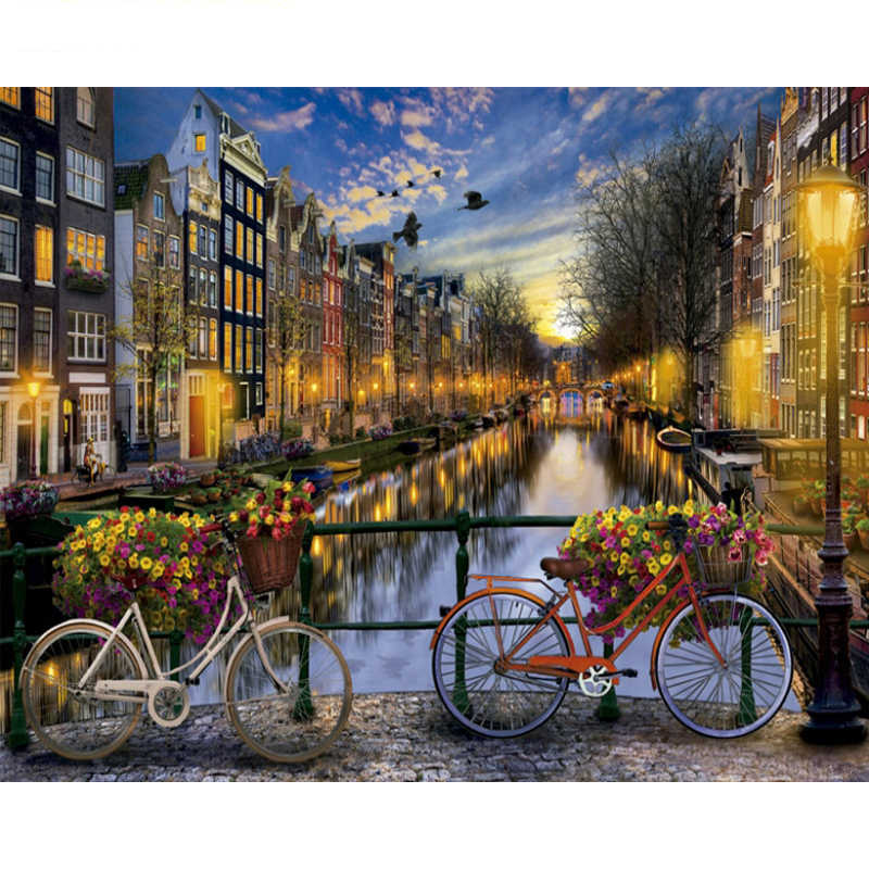 Painting By Numbers DIY Love in Amsterdam Landscape Canvas Art picture Acrylic Coloring By Numbers Home Decoration 40x50cm