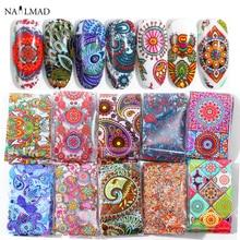 10 stuks 4*20cm Paisley Kleurrijke Nail Folies Nail Art Transfer Sticker Decal Mandala Slider Decals DIY Nail tips Decoraties
