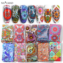 10 sztuk 4*20cm Paisley kolorowy lakier do paznokci folie naklejka do transferu na paznokcie naklejka Mandala suwak naklejki DIY ozdoby do sztucznych paznokci
