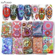 10pcs 4*20cm Mandala Paisley Colorido Unhas Folhas de Transferência Da Arte do Prego Adesivo Decalque Deslizante Decalques DIY Nail dicas de Decoração