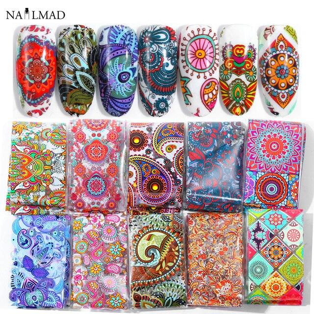 10pcs 4*20cm Paisley Colorful Nail Foils Nail Art Transfer Sticker Decal Mandala Slider Decals DIY Nail Tips Decorations