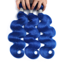 Blue Hair 3 Bundles With Closure Peruvian Two Tone Color Remy Hair Ombre Body Wave Bundles With Closure With Baby Hair