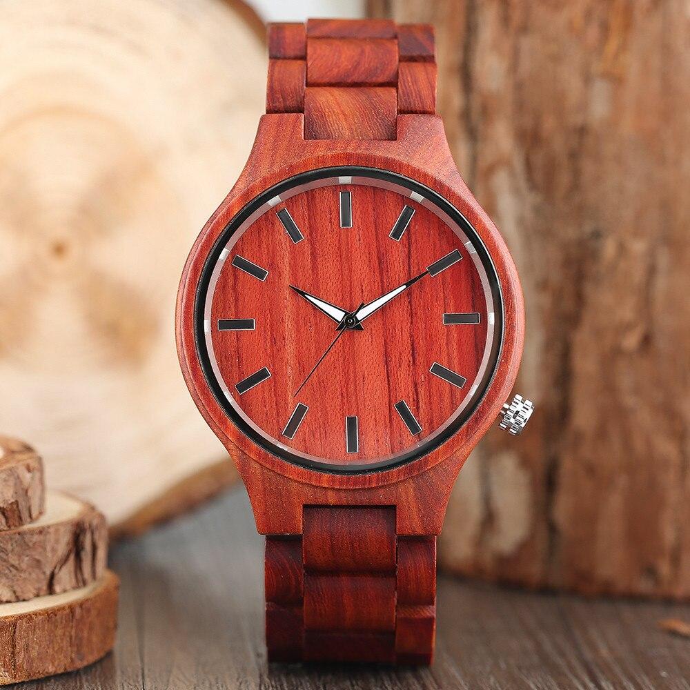 2017 nouveauté mode rouge bois de santal fabrication à la main hommes Quartz montre-bracelet échelle cadran réel bois mâle décontracté Cool montre meilleur cadeau