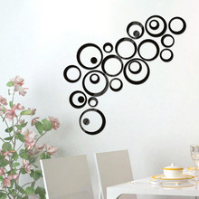 Фотография 24Pcs/set Circles Wall Stickers Mirror DIY Removable Wall Sticker Decal Vinyl Wall Art Mural Stickers Home Adesivo De Parede