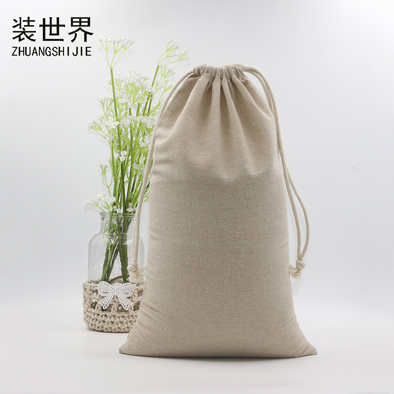 2pcs 24*40cm Custom Logo Print Cotton Linen Bag Pouch Drawstring Bags Christmas Jewelry Pouches Travel Organizer