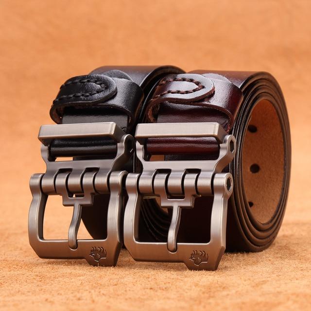 BISON DENIM Men Belt For Men Cowskin Genuine Leather Personality Men belt Buckle Quality Male Brown