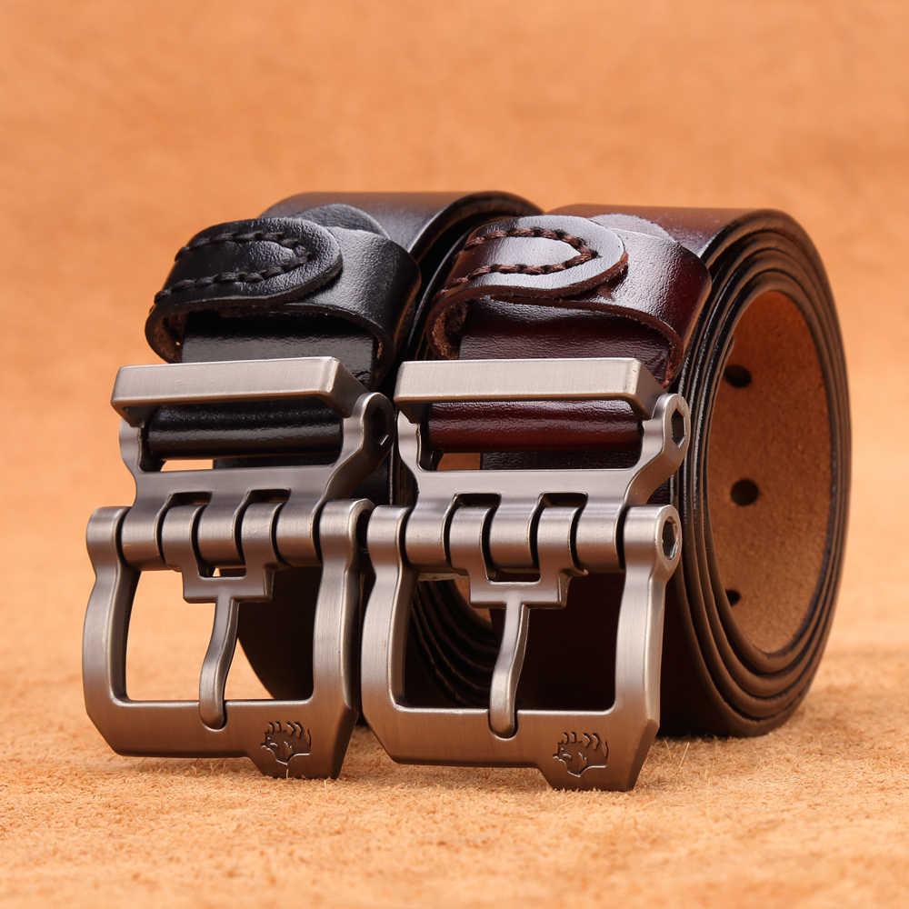 BISON DENIM Men Belt For Men Cowskin Genuine Leather Personality Men belt  Buckle Quality Male Brown Strap Vintage Jeans N71223    - AliExpress