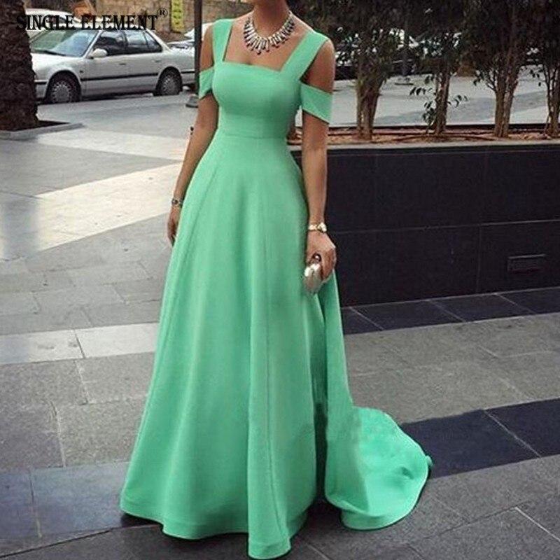 Un solo elemento Sexy verde fuera del hombro nueva llegada vestidos de graduación - 5