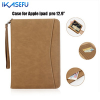 IKASEFU PU Leather Case For Apple iPad Pro 12.9 inch Filp Stand Cover for pro iPad Pro 12.9 Couqe Fundas Cover Hand Belt Holder