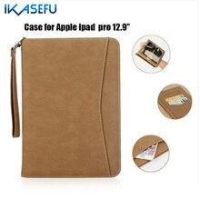 IKASEFU PU Estuche de Cuero Para el ipad de Apple Pro 12.9 pulgadas Filp Soporte cubierta para iPad pro Pro 12.9 Couqe Fundas Cubierta de la Correa de Mano Soporte
