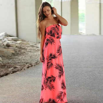 Strapless Floral Printed Long Dress Off Shoulder 2018 Tropic Affair Summer Dresses Sexy Low bosom Bohemian Beach Maxi Dress - DISCOUNT ITEM  8% OFF All Category