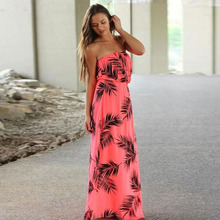 Strapless Floral Printed Long Dress Off Shoulder 2018 Tropic Affair Summer Dresses Sexy Low bosom Bohemian Beach Maxi Dress