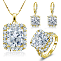 QYI золотые ювелирные изделия женский набор 14 K массивная, желтая, Золотая кольцо набор обручальное свадебное ювелирный подарок для возлюбле