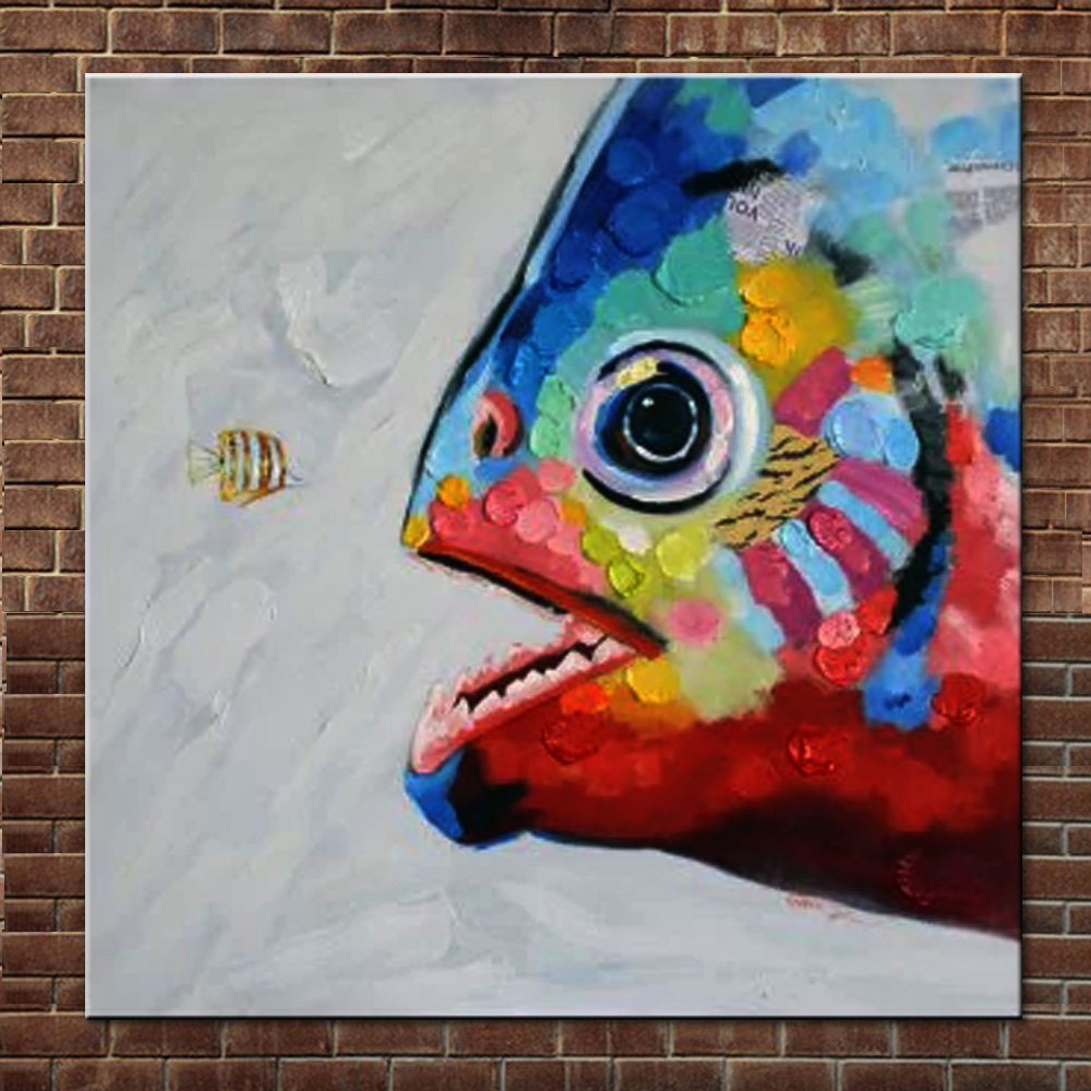 Hand Painted Abstract Cartoon Canvas Art Lovely Fish Oil Painting ...