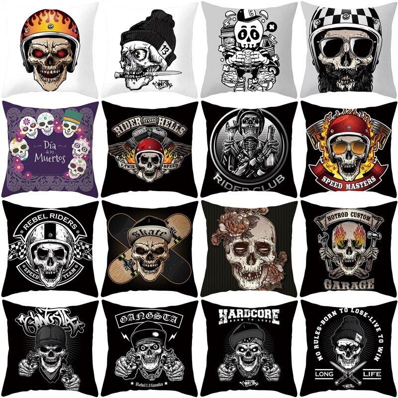 YWZN Skull Printing Decorative Pillowcase Black And White Skull Pillow Case Polyester Skull Pattern Pillow Cover Kussensloop