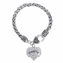 Lemegeton Mixed Color DIABETIC Bracelets Awareness Medical Alert Charm Bracelet White Rhinestone Heart Lobater Clasp for women